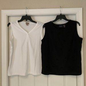 2 Womens Size Med Sleeveless Tank Tops Black White